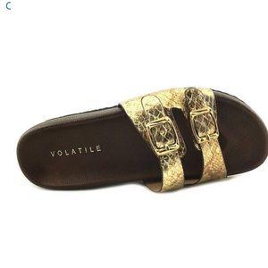 Volatile Luana Birkenstock style gold/brown sandal